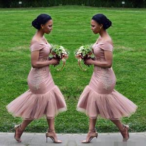 Платья подружки невесты 2020 Румяна Розовая страна с плеча Платья для гостей на свадьбу на пляже Свадебное платье для подружек невесты Арабский Дешевые чайные