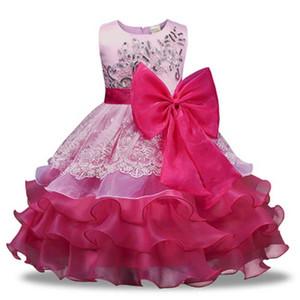 Vestidos Meninas Flores infantil das crianças partido do traje para a menina Crianças Pageant Bola de dança Vestido Princesa vestido de baile de aniversário 3-8 anos