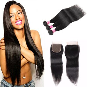 Grade Indian Straight Virgin Human Hair Weaves With 4x4 Lace Closure 100% Unprocessed 8A Indian Straight Hair 3Bundles Extension And Closure