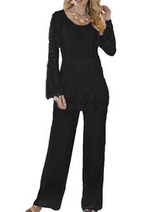 El más nuevo encaje de dos piezas Lady Mother Pants Trajes Vestido de noche Fiesta Madre de la novia Vestido pantalón Traje Vestidos Fiesta formal Marrón Personalizado