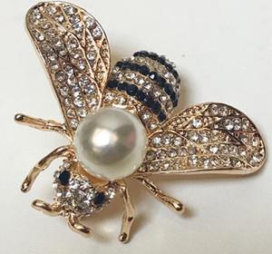 2018 브랜드 디자이너 꿀벌 브로치 핀 여성을위한 고품질의 라인 석 크리스탈 버클 브로치 럭셔리 보석류 도매