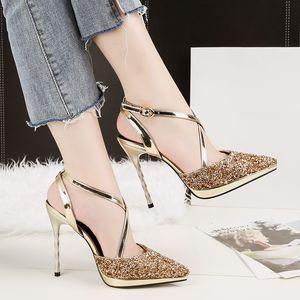Мода Bling партия Женская обувь острым носом сексуальные сандалии блестка тонкий высокий каблук тонкие каблуки женские блестки насосы 4 цвета