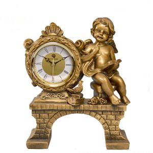 Decorazione della casa di moda Artigianato in resina Orologio da tavolo European Antique Watch Golden Reading Angel Statue Clock Table