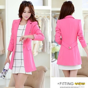 Korean version of the new Spring and Autumn Girls long paragraph Slim small suit leisure suit large size ladies small coat