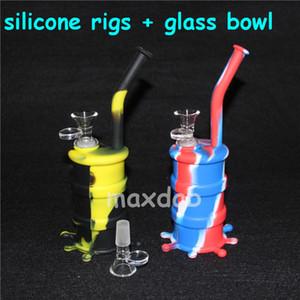 Rifornimenti del barilotto del silicone del narghilé Mini silicone Rigs Dab Jar Bongs Jar Tubo dell'acqua Silicon Oil Drum Rigs con ciotola di vetro trasporto libero DHL