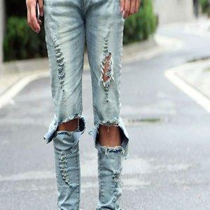 Pantalones lápiz Hombre azul claro Negro rasgado Skinny Vaqueros pitillo desgastados desgastados Pantalones con agujeros Jeans de diseñador para hombre
