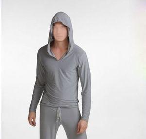 Envío gratis para hombre Viscosa sudadera casual de manga larga con una capucha pijamas de los hombres de manga regular para hombres