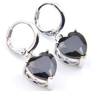 10prs Luckyshine мода блеск сердца огонь черный оникс цирконий драгоценный камень серебряные серьги на крючках для праздника свадьбы