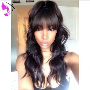 % 180 Yoğunluk tam Tutkalsız dantel Ön Peruk Bangs vücut dalga sentetik dantel Siyah kadın sentetik için dayanıklı saç ısı Wig
