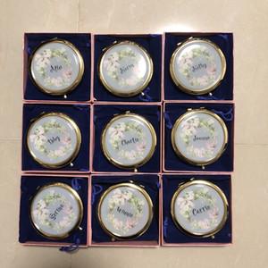 Benzersiz özel logo Kompakt Ayna Bachorette parti nedime hediyeler Düğün 1 adet lot ücretsiz gönderim toptan Yana