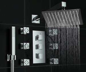 Becola doccia di alta qualità set ultrasottile funzione multipla 12 pollice soffione doccia rubinetto miscelatore getto jet BR-S1212-B3