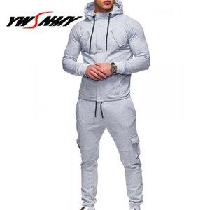 Yeni Hoodies Setleri Erkekler 2018 Hoody Erkek Eşofman Setleri Uzun Kollu Iki Adet Set Spor Rahat Düz Renk Hoodies Erkek Sporting