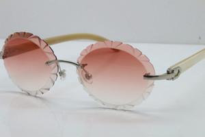 Novos óculos de sol T8200761 Branco Genuine Natural aro esculpidas ao ar livre Atacado aparamento Lens Sunglasses Vintage unissex óculos de condução