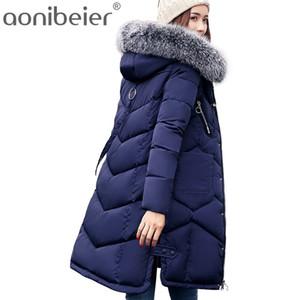 Atacado- Quente Aonibeier longo Parkas Inverno de algodão acolchoado Jacket Brasão mulheres maiores Faux Fur Collar capuz fino Feminino Longo Overcoat
