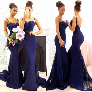 Zuhair Murad 2019 Navy Blue Spghetti cinghie Mermaid lunghi abiti da sera del merletto di Applique Backless abiti di promenade Plus Size damigella d'onore BA7878