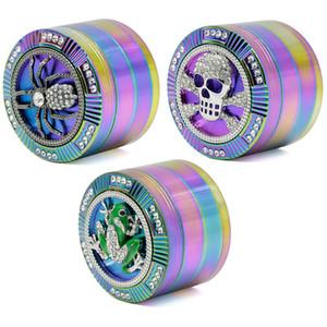Crânio de Metal Fumaça de Erva de Tabaco de Metal 4 Camada IceBlue Rainbow Color Aranha Forma de Animal Fumar Herb Grinder Crusher 63 MM HH7-1435