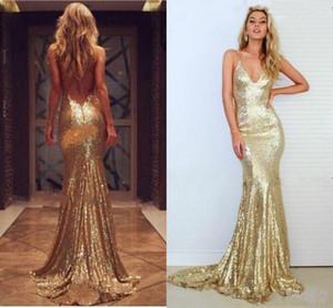 Oro 2018 lentejuelas vestidos de noche lateral dividida sin respaldo vestidos de baile más tamaño sirena larga lentejuelas vestidos de dama de honor baratos por encargo