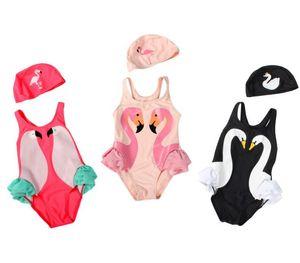 2018Children Summer Swimwear Baby Girls 원피스 수영복 펭귄 백조 플라밍고 Digital Printing Cartoon Kids 수영복 모자와 함께 베스트
