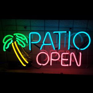 """17"""" PATIO OUVERT PALM Real Business tube en verre Neon Sign Lampe décorations pour la bière Light Bar"""