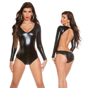 Sexy Dessous Schwarz PVC Kunstleder Spandex Vinyl Body Overall Catsuit Fetisch Party tragen
