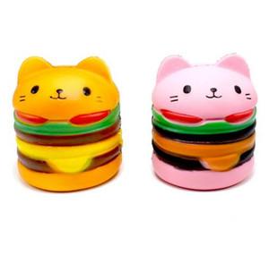 Pembe Turuncu Kawaii Yumuşak Squishy Jumbo Kedi Hamburger oyuncak Kokulu Yavaş Yükselen Nefis Yumuşak çocuk Dekompresyon Eğlenceli Oyuncak Relax