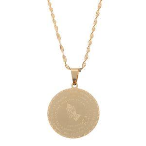 Edelstahl Bibel Vers Gebet Schmuck Gold Farbe betende Hände Schmuck Münze Medaille Christian Lords Gebet Schmuck