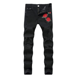 Rose Embroidery Jeans High Quality Fashion Blue Black Ripped Male Pants Tide Slim Pants