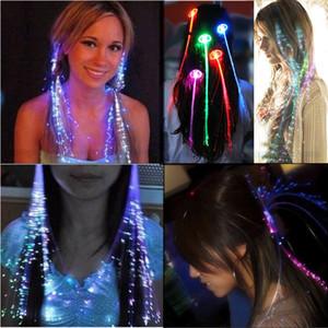 colorato flash lgaht led hairpin hair treccia decorazione festa in costume glow in the dark pigtail hair in fibra ottica vacanza decor