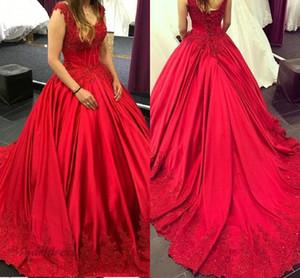 Robes de soirée rouges à la mode corset dentelle vers le haut une ligne de v cou dentelle appliques satin femmes élégantes robes de soirée formelles filles robe de soirée