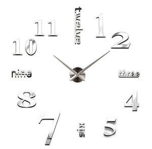 Nouveau 20pcs horloges à quartz de mode montres 3d real grande horloge murale se précipita miroir autocollant bricolage salon décor