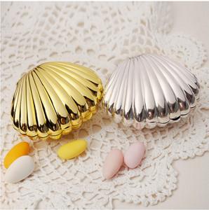 Caixas de doces de casamento caixas de concha de concha casamento favor de partido titulares caixas de presente de prata de ouro