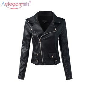 Al por mayor-Aelegantmis Casual PU Chaqueta de cuero Mujeres Classic Zipper Chaquetas cortas de la motocicleta Lady Autumn Soft Leather Basic Coat Negro