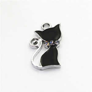 Neu kommen 10pcs silberne schwarze Katze-Charme für DIY Armbänder hängende Charme-Halskette baumeln Entdeckungen Schmucksache-Zusätze