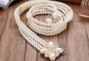 2018 Belt Luxury Pearl Buckle belts Desiger Belt Fashion Accessory Waist Belts Chain Belts Stretch Waistband Women Dress Belt