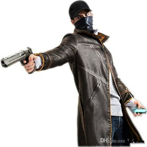 Giubbotto per costume da uomo in pelle di Malidaike Watch Dogs Trench coat Aiden Pearce Halloween Cos Outfit
