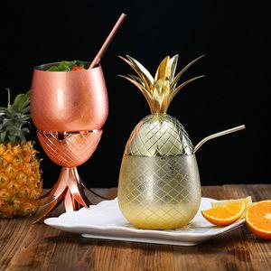 Ananas-Cocktail-Shaker-Schale-Edelstahl-überzogene Goldbronze-Kupfer-Becher-Schale für Partei-Hochzeits-Dekor-Geschenke 500ML und 350ML HH7-368
