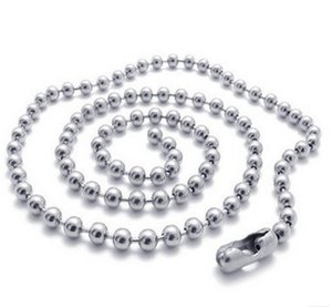 100pcs 2.4mm 50cm 60cm 70cm silver tone Ball Beads beaded Necklace Chain free shipping