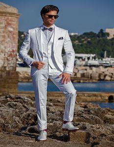 White Wedding Men Suits Groom Tuxedos Slim Fit Bridegroom Suits 3 Pieces (Jacket+Pants+Vest) Best Man Prom Wear