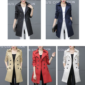 Women Trench Coat For Office Lady Go To Work New Fashion Designer  Classic European Slim Coat Trench Double Breasted Plus