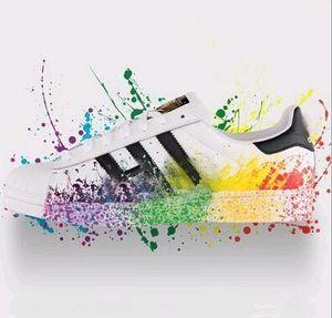 Büyük boy EU36-46 Originals erkek Ayakkabı kadın Ayakkabı Için beyaz Ayakkabı Lazer Dazzle Renk Süperstar Kabuk Kafa rahat ayakkabılar Ücretsiz Kargo