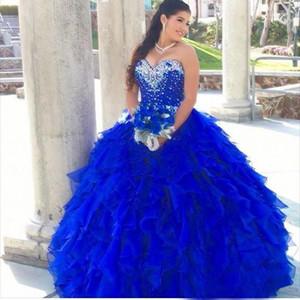Royal Blue Платья Quinceanera 2019 Каскадные оборками бальное платье Милая бисером декольте Корсет Sweet 16 платья партии Пром платья
