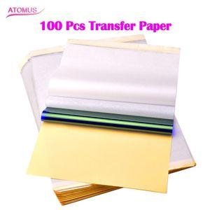 100 pcs Papier De Transfert De Stencil Thermique Papier De Transfert De Tatouage A4 Taille Pour Machine De Transfert De Tatouage Livraison Gratuite
