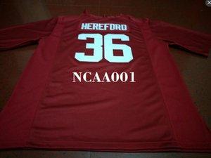 Männer # 36 Mac Hereford Alabama Crimson Tide rot schwarz weiß College Jersey oder benutzerdefinierte jeder Name oder Nummer Jersey