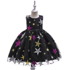 schwarzes Kleid für Kinder Stern gestickte Prinzessin Ballkleid Art und Weise der neue Art für Kinder auf der Bühne Leistungsabnutzung