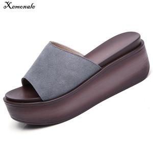 Xemonale 2018 Yaz Kadın Terlik Süet Deri Kalın Tabanlı Flipflop Ayakkabı Kadın Takozlar Terlik Siyah Beyaz Slaytlar Sandalet