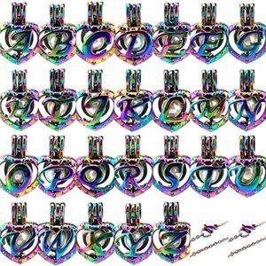 Gökkuşağı Renk 26 Alfabe Mektubu Kalp Işareti Boncuk Kafes Kolye Kolye Aroma Esansiyel Yağı Difüzör Madalyon Takılar Tatlı Adı Hediye