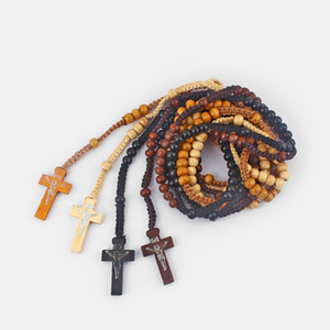 4PCS Wood Jesus Cross Charms Pendants Necklace Black Brown Beige Light Brown Woven Rope Necklace