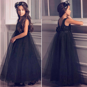 2020 Black Sequin Flower Girl Dresses For Kids Black Tulle Floor Length Junior Bridesmaids Dresses Christmas Cheap Girls Pageant Dresses