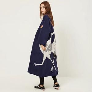 CHICEVER Cegonha Feminino Cardigan Camisola para o Inverno das Mulheres Jumper Casaco Feminino Quimono Do Vintage de Malha Longa Trench Blusão