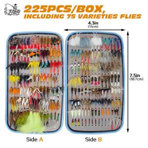 225pcs molhado seco mosca de pesca Moscas Lure Conjunto Fly subordinação material molhado mão amarrado ninfa Moscas para Truta Pike equipamento Artificial